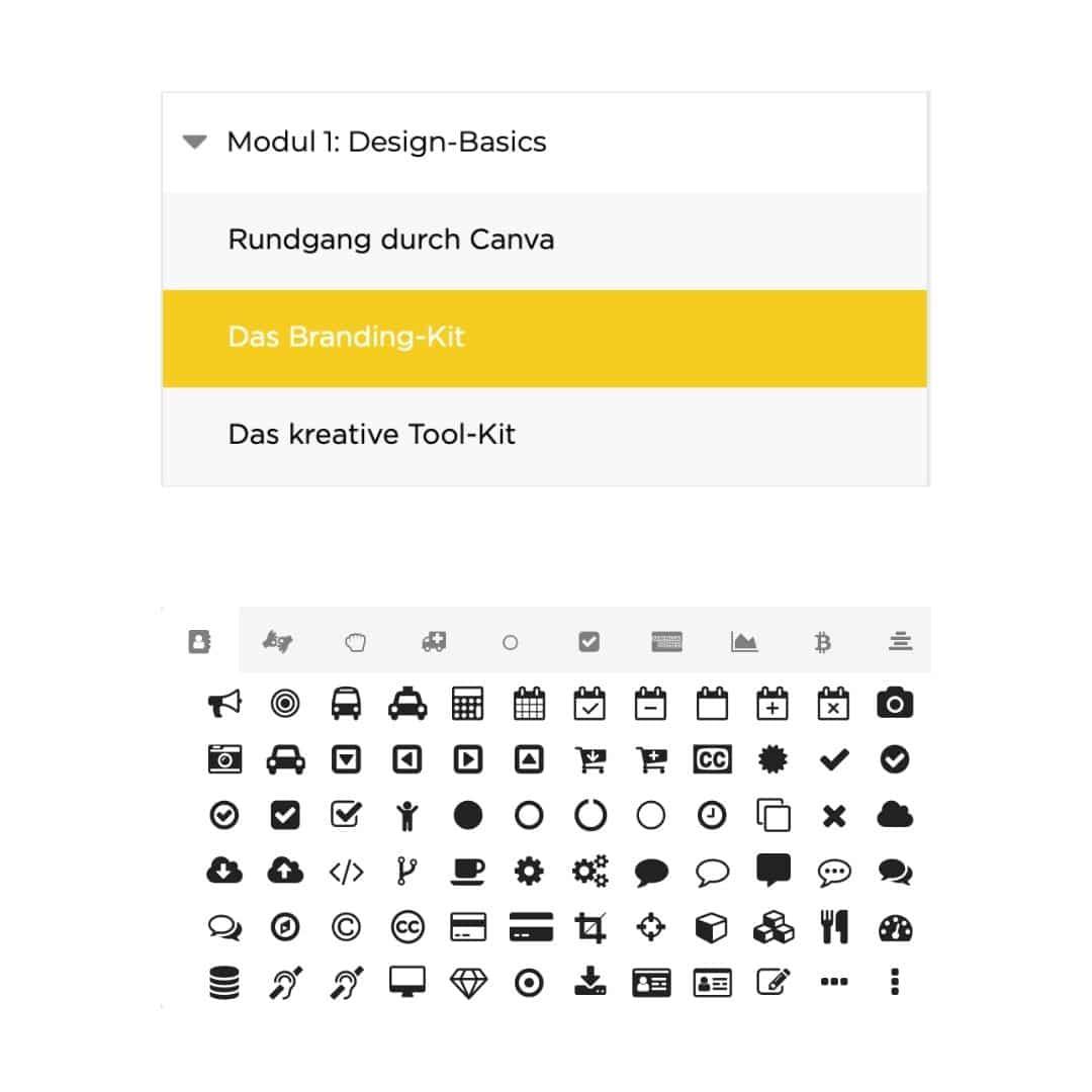 Onlinekurs visuelle Elemente Menü und FontAwesome