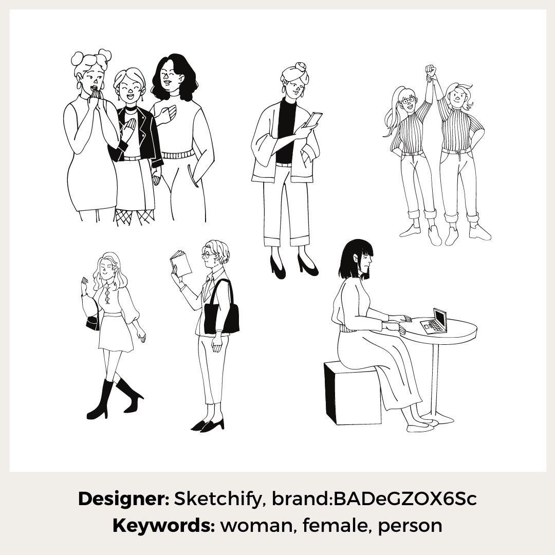 Frauen skizziert