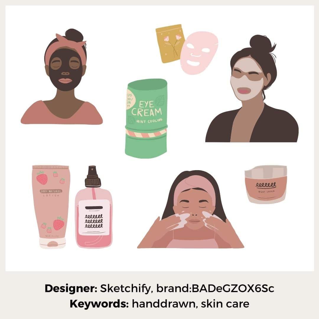 Gesichtspflege-Elemente für Canva