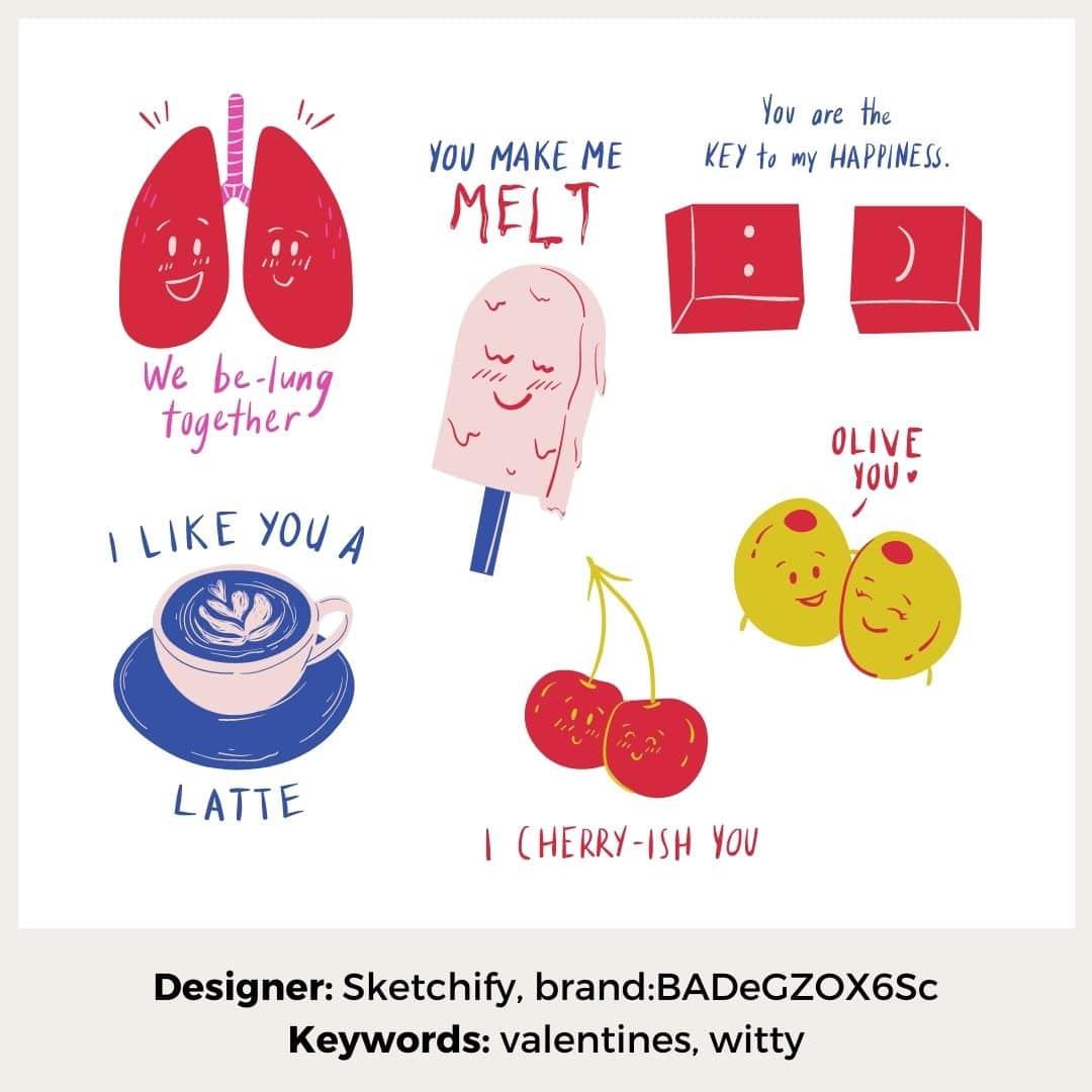 Sticker verliebt mit Wortwitzen