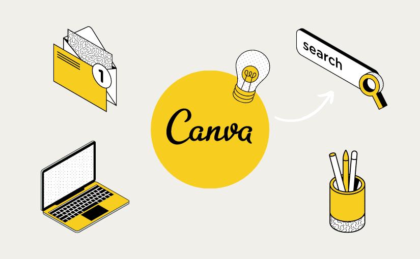 Schöne CANVA Elemente finden: 27 Suchbegriffe + Design Beispiele