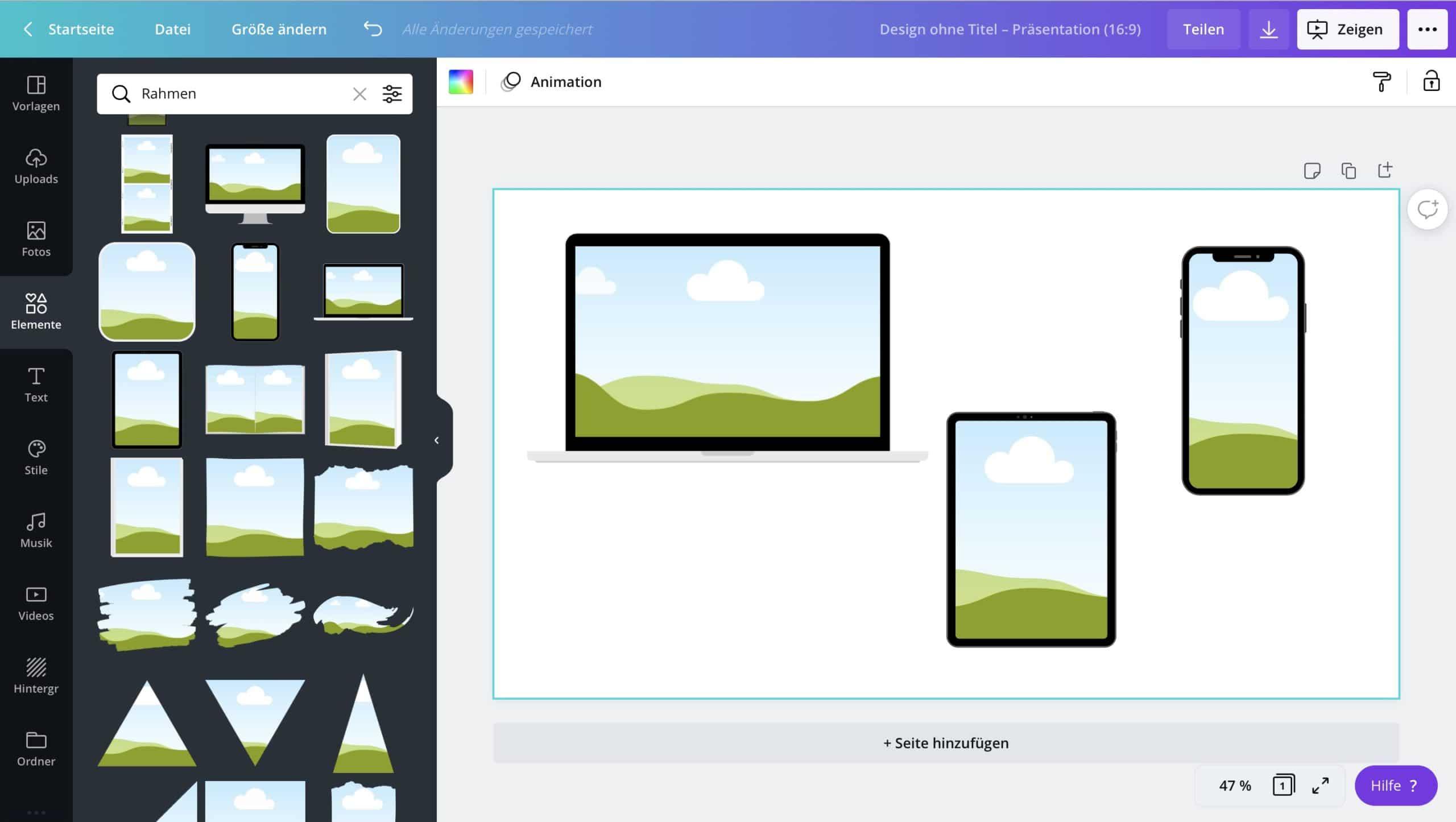 Schritt 2 Canva Mock-Up Rahmen wählen