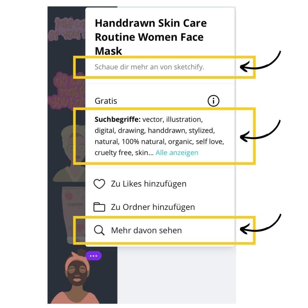 Zu einem Element passende Canva Elemente finden Screenshot