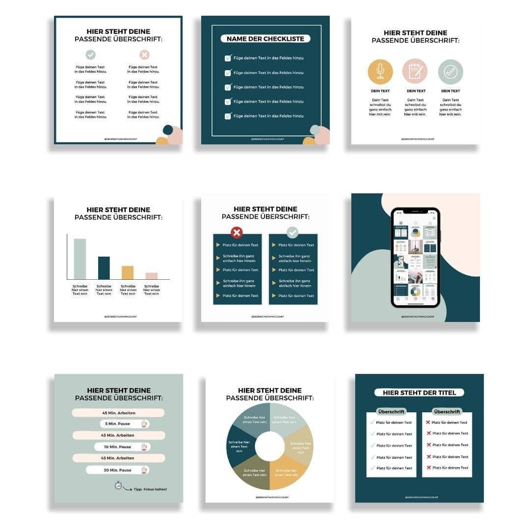 Infografiken Set für Instagram Posts