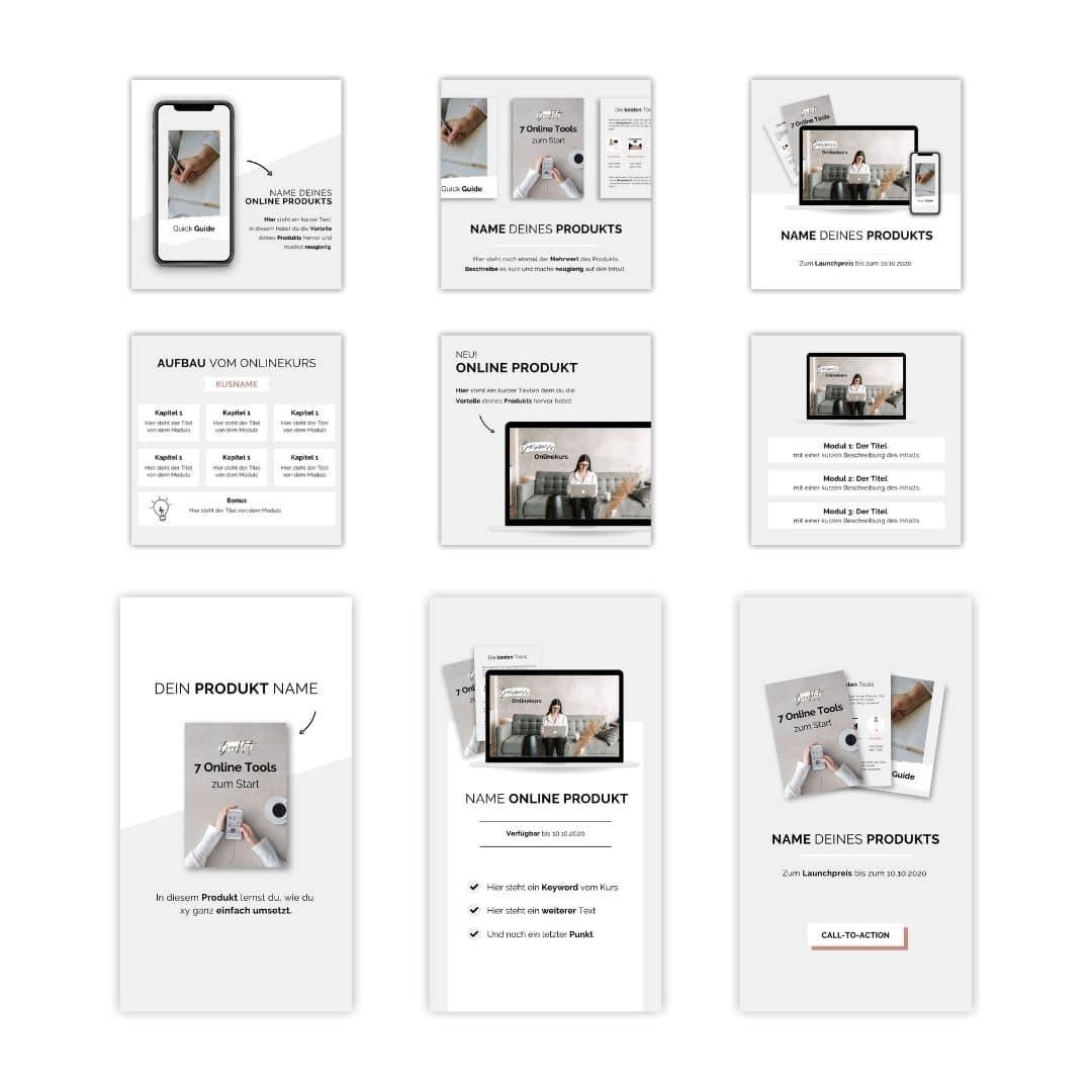 Marketing Design Vorlagen für Online Produkte