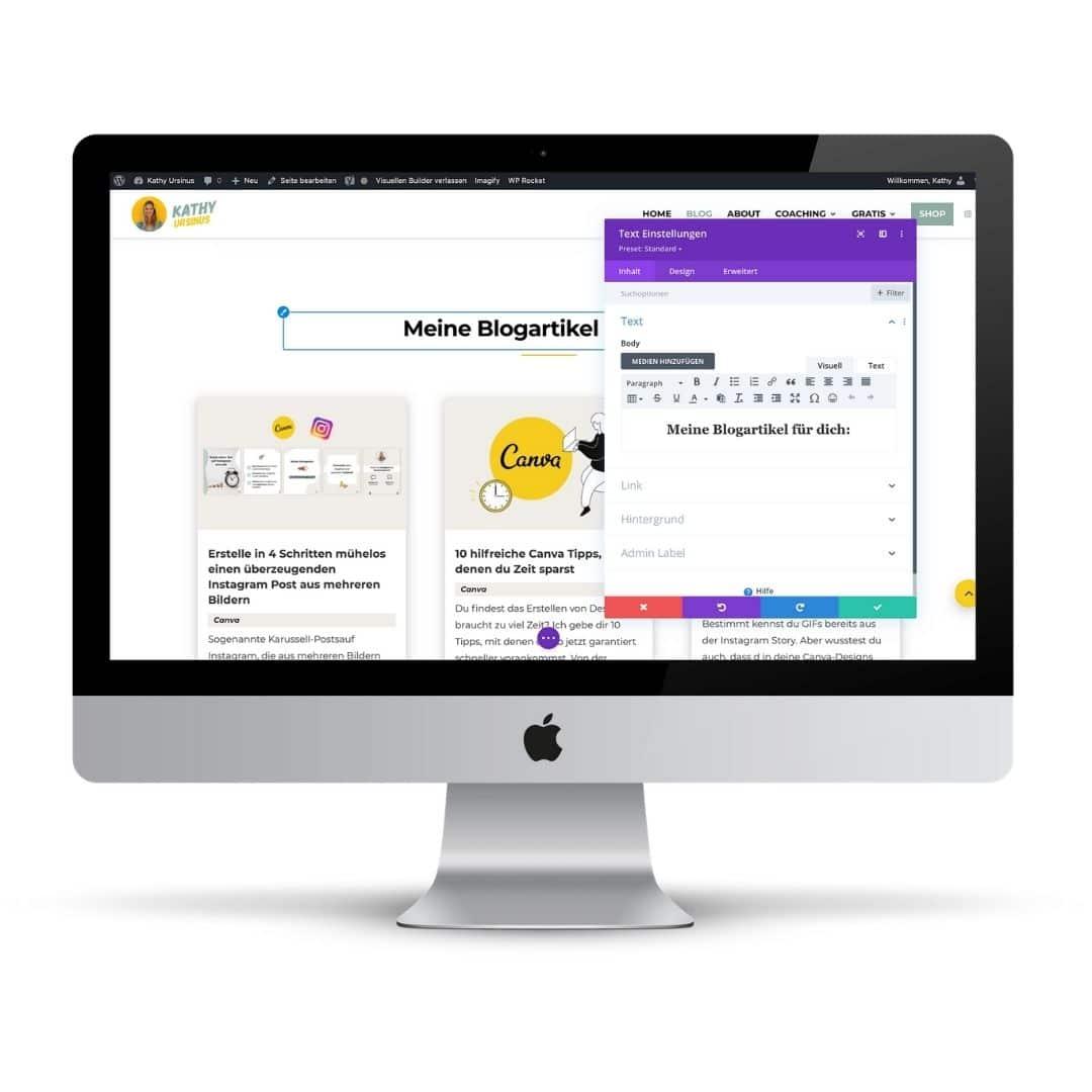 Vorteil vom Business Tool Divi: Der visuelle Builder