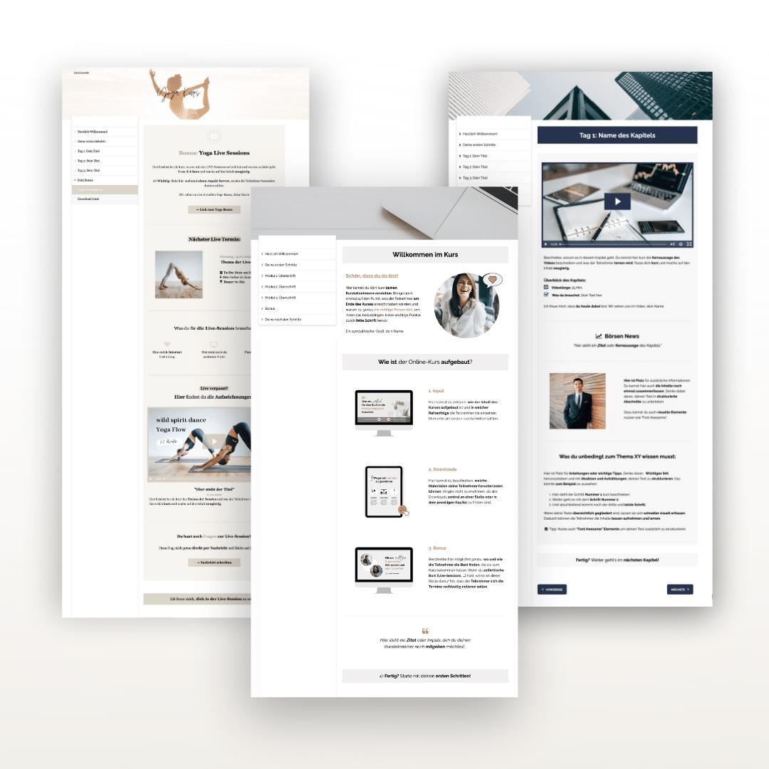 Onlinekurs Design Vorlagen mit Elopage