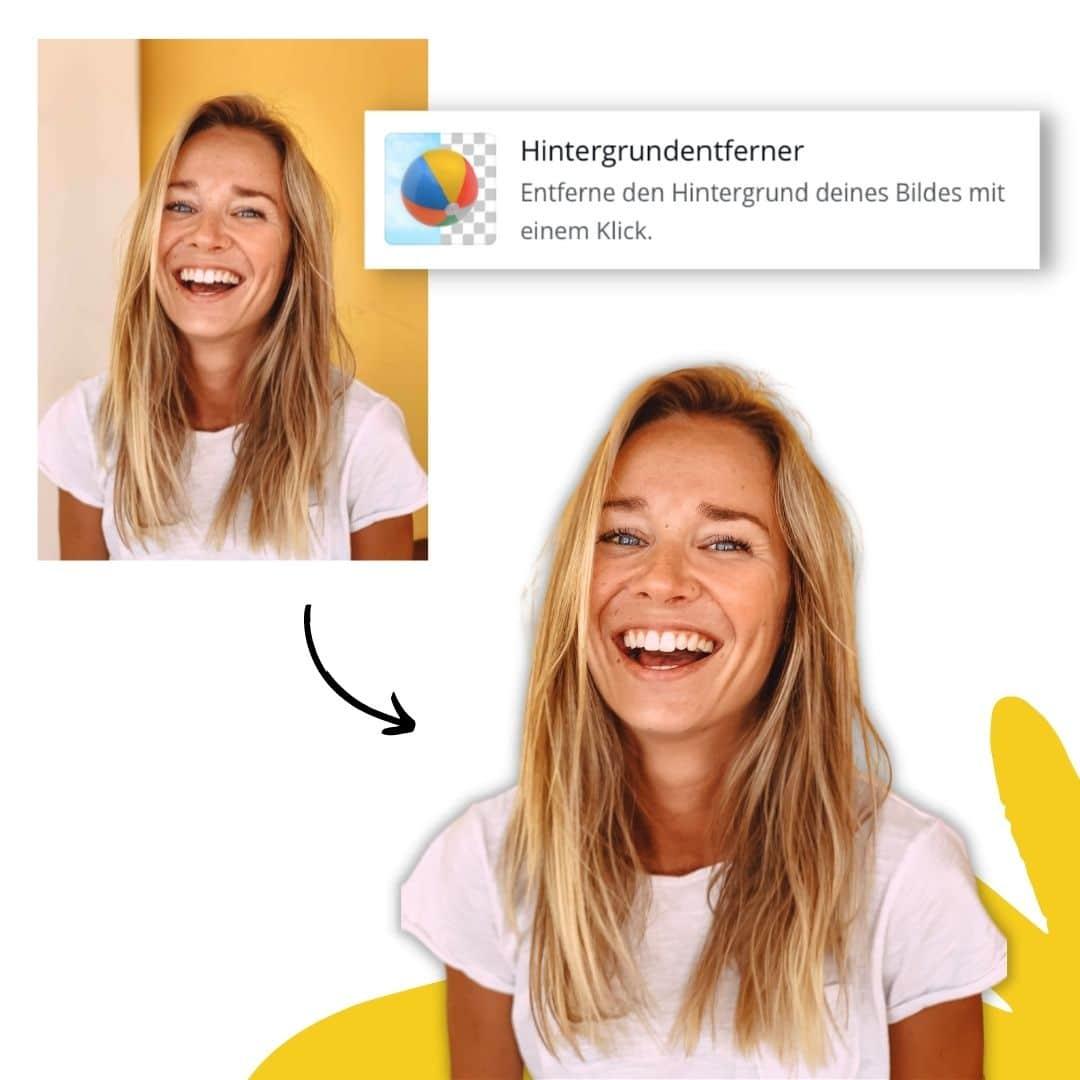 Hintergrund von Bildern entfernen in Canva Beispiel