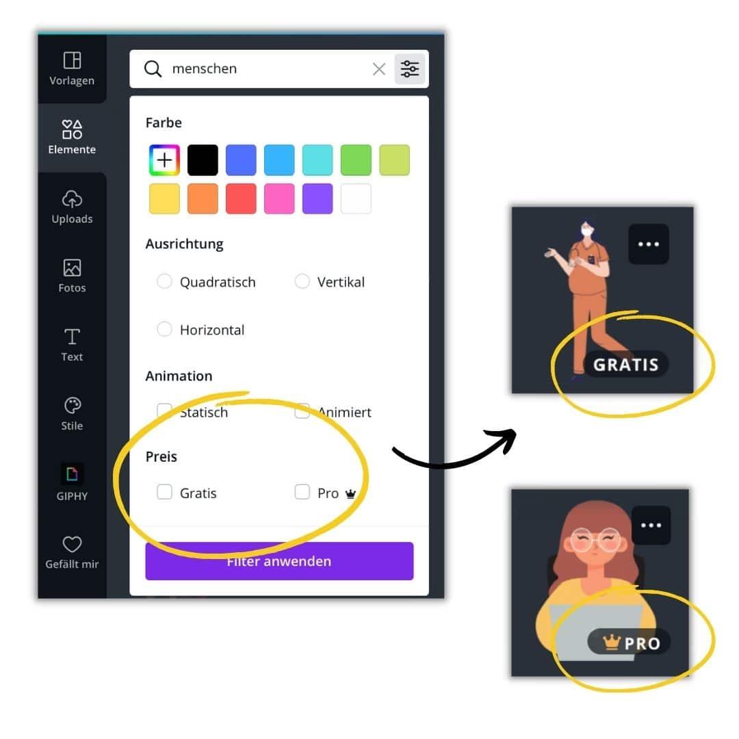 Canva Filter: Gratis vs. Pro-Elemente