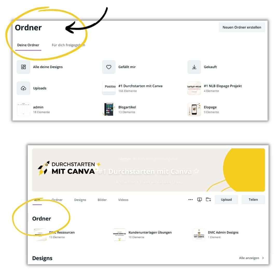 Canva Designs in Ordnern speichern